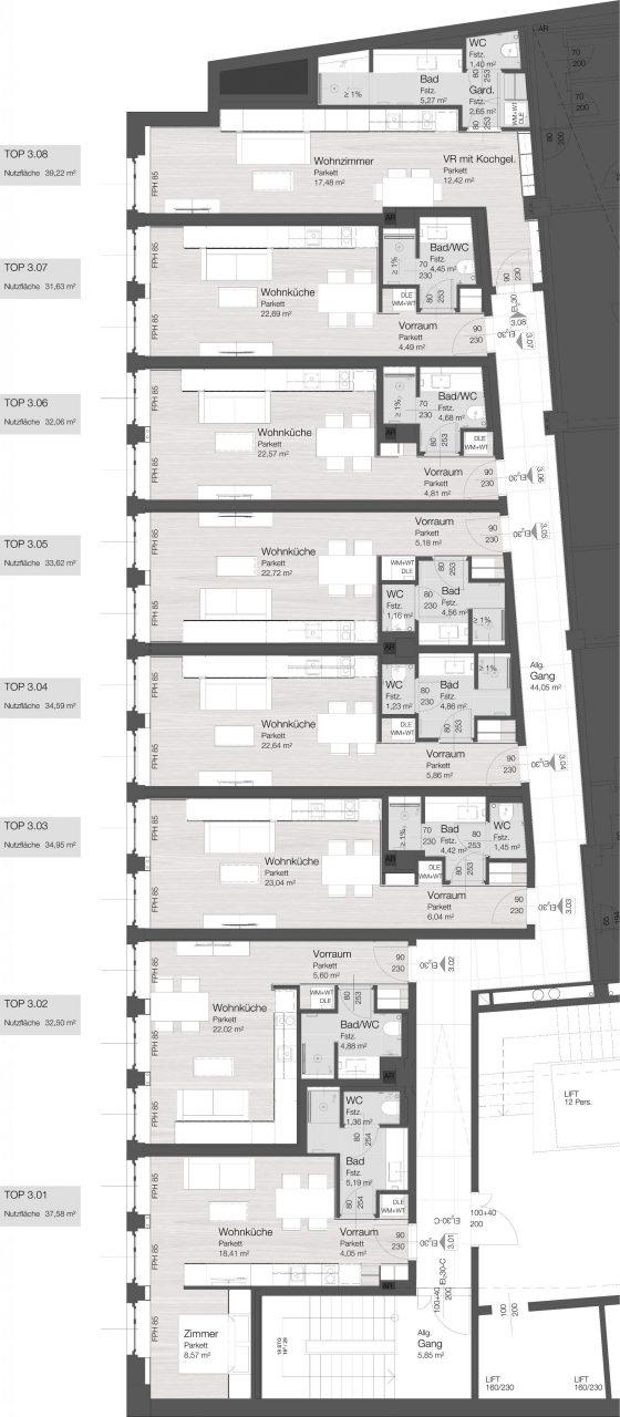 LIEGLER TAKEH ARCHITEKTEN Projekt Micro-Apartments Rotenturmstraße Grundriss